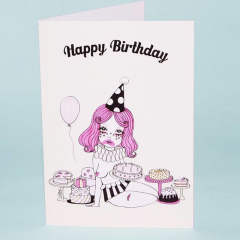 CLOWN WITH THE MOST CAKE GREETING CARD (greeting card)